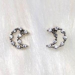 Jewelry - Tiny Half-Moon Rhinestone Earrings